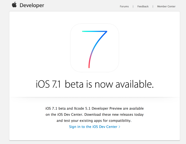 iOS 7.1 beta 5 released for developers